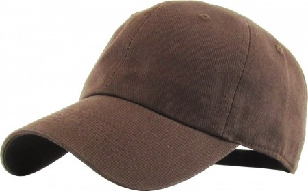 Plain Low Profile Cotton Baseball Cap - Brun
