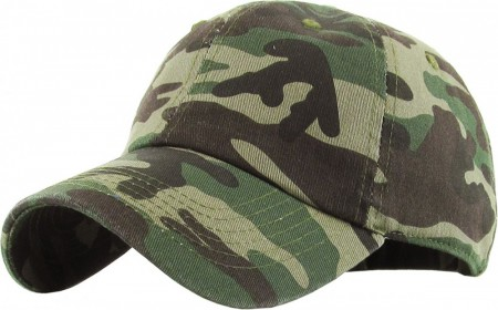 Plain Low Profile Cotton Baseball Cap - Camo