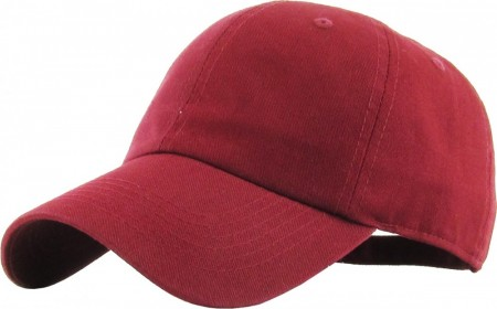 Plain Low Profile Cotton Baseball Cap - Burgunder