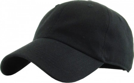 Plain Low Profile Cotton Baseball Cap - Sort